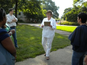 During a fire drill, Olmsted rounded up students. She warned of the harm in fearing technology.